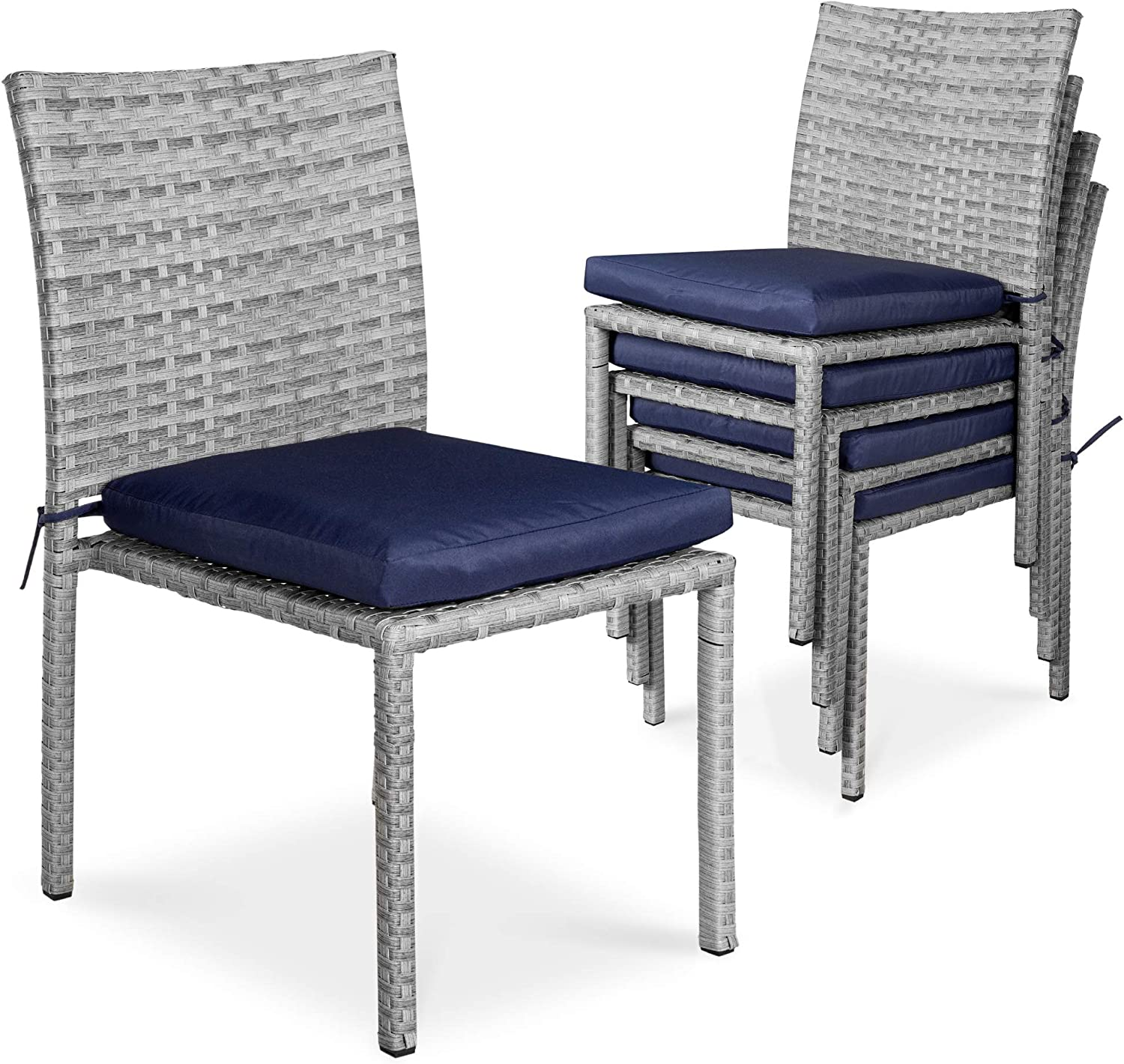 Best Choice Products Set of 4 Stackable Outdoor Patio Wicker Chairs w/Cushions, UV-Resistant Finish, and Steel Frame - Gray/Navy Blue