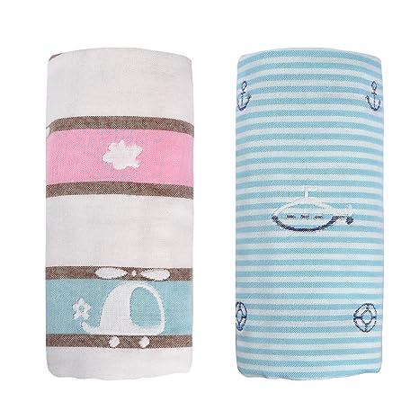Lote de 2 bebé Pañales de gasa muselina cuadrado capas puro algodón toalla de baño,
