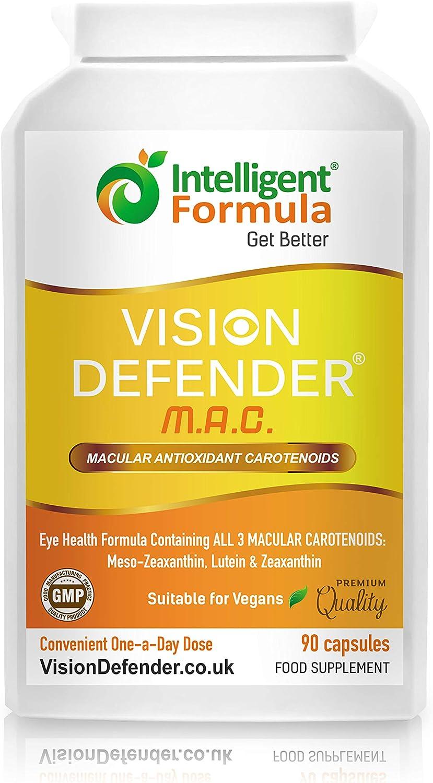 Carotenoides Antioxidantes Maculares VISION DEFENDER MAC - Protege Tus Ojos, Cuida Tu Vista con el Suplemento Vegano de Meso-Zeaxantina, Luteína & Zeaxantina para Ojos (90 cápsulas/Una-Diaria)