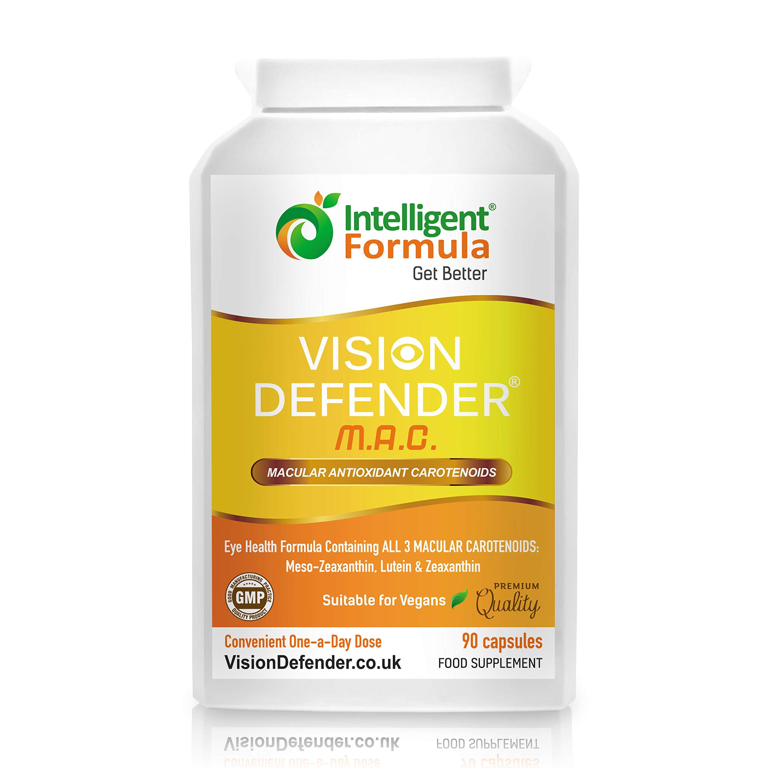 Lutein, Zeaxanthin & Meso-Zeaxanthin Eye Supplement: VISION DEFENDER MAC-Shield Your Eyes, Save Your Eyesight, Vegan/Vegetarian Antioxidant Carotenoids for Eyes (90 Capsules/One-A-Day) Made in UK