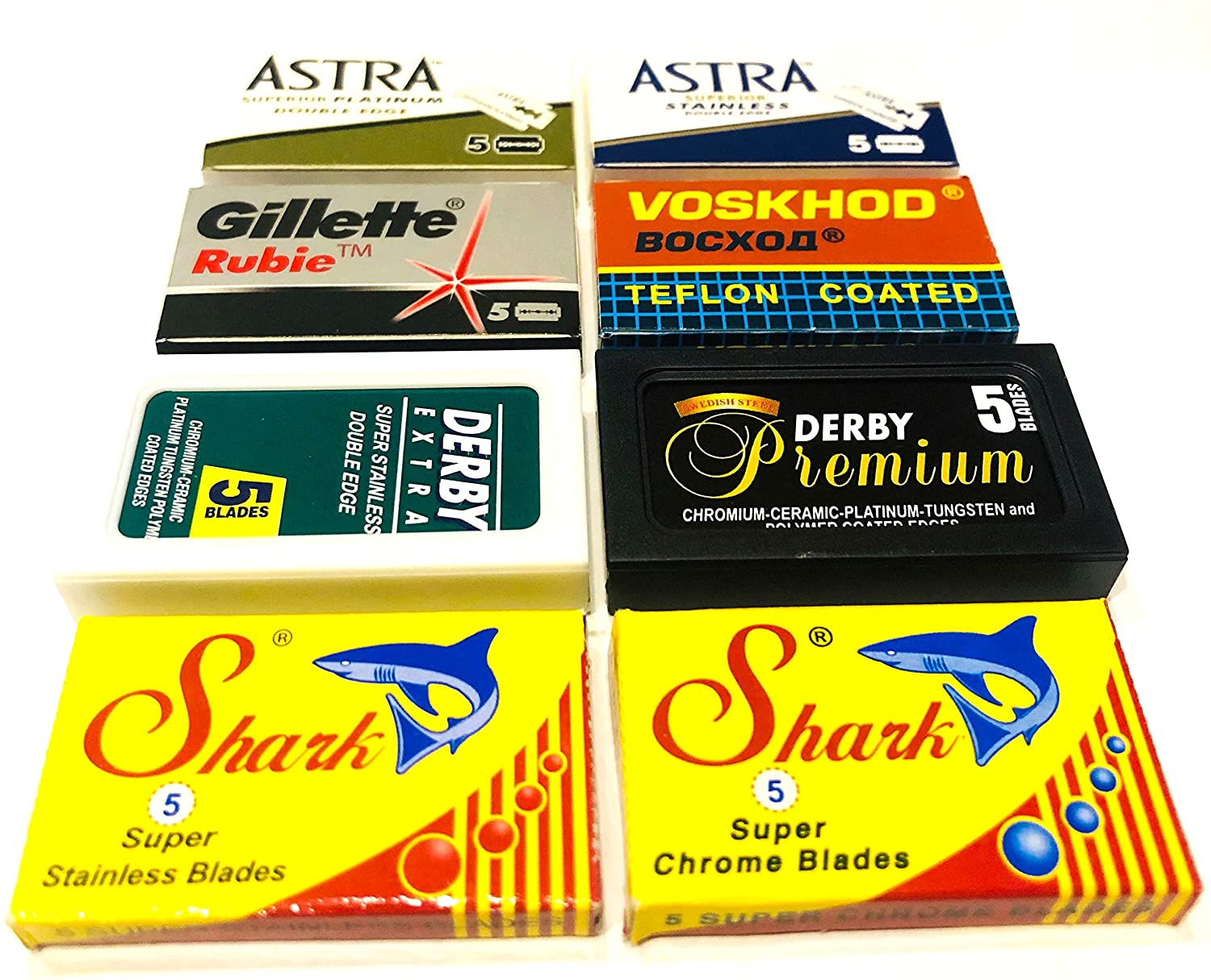 Astra-Derby-Shark-Voskhod Double Edge Razor Blades Sampler (40 blades, 8 different brands)