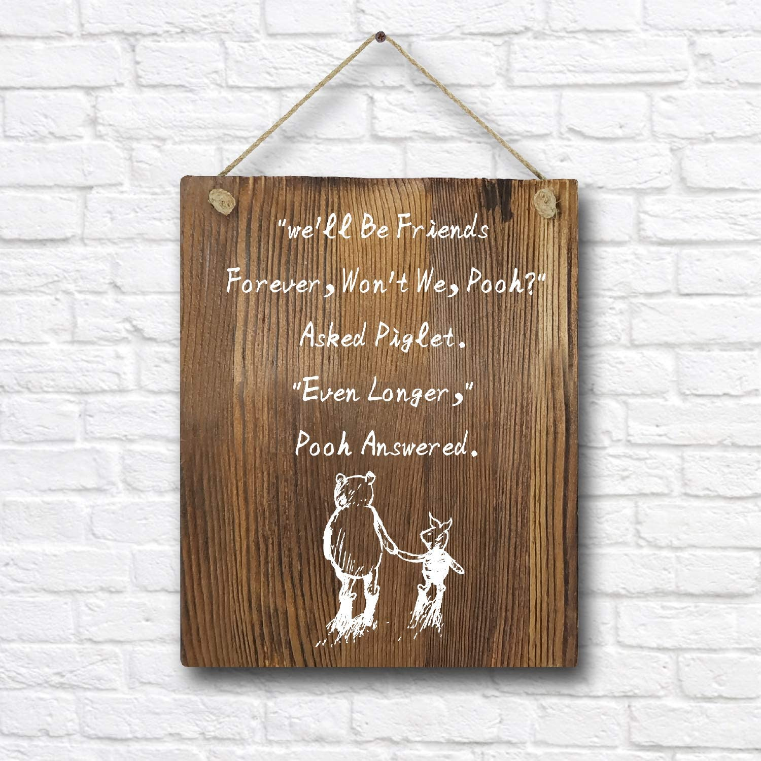 "Winnie The Pooh Quotes and Saying Rustic Wood Wall Art Decor- 8""x10"" Wooden Hanging Wall Art for Classroom Office Child/Boy/Girl/Nursery Room Decor"