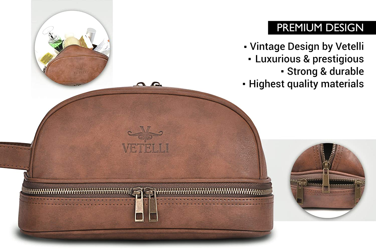 V107 with free Travel Bottles Vetelli Leather Toiletry Bag For Men Dopp Kit The perfect gift and travel accessory