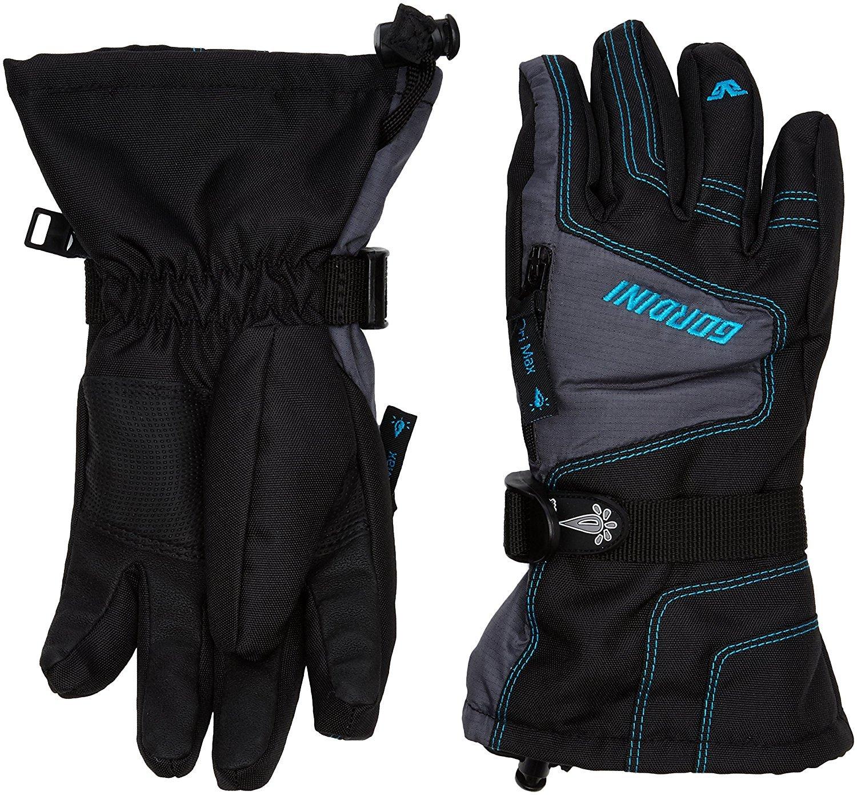 Gordini Junior Ultra Dri-Max Gauntlet Gloves Black Dark Grey Teal M by GORDINI