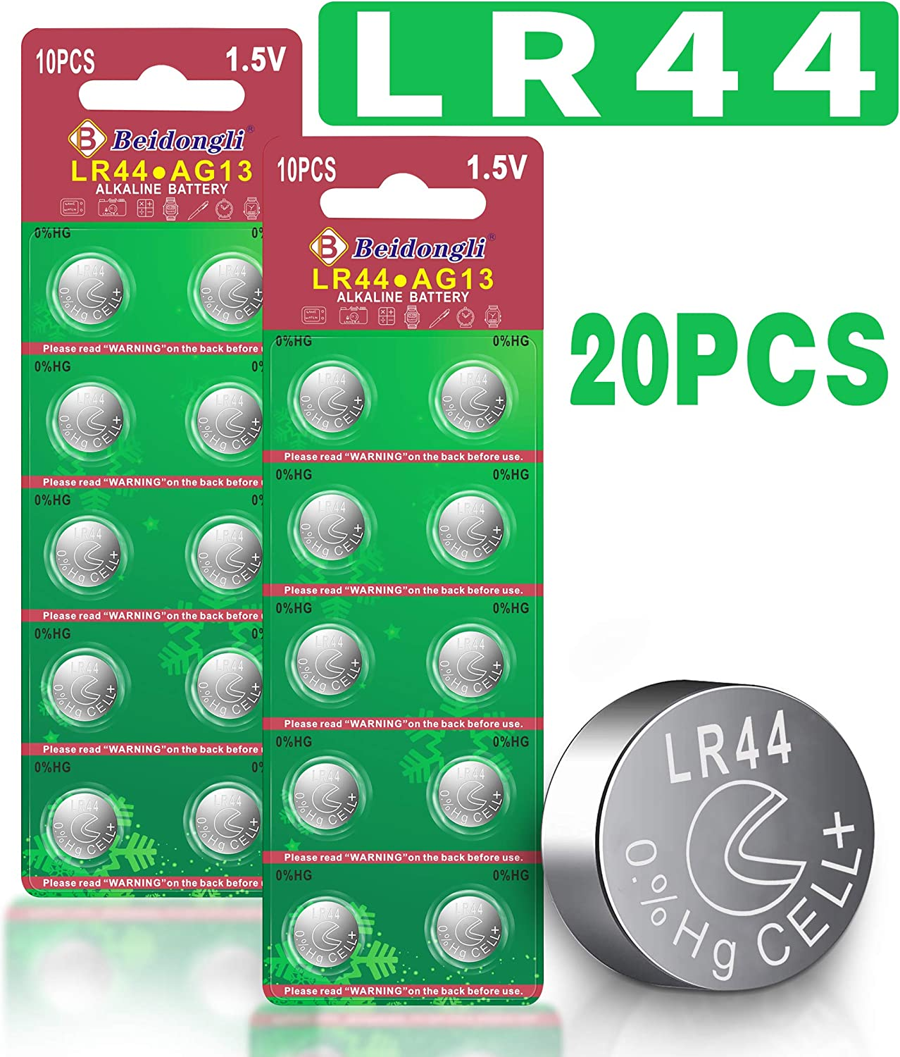 20pack Beidongli AG13 LR44 357 high Capacity 1.5V Button Coin Cell