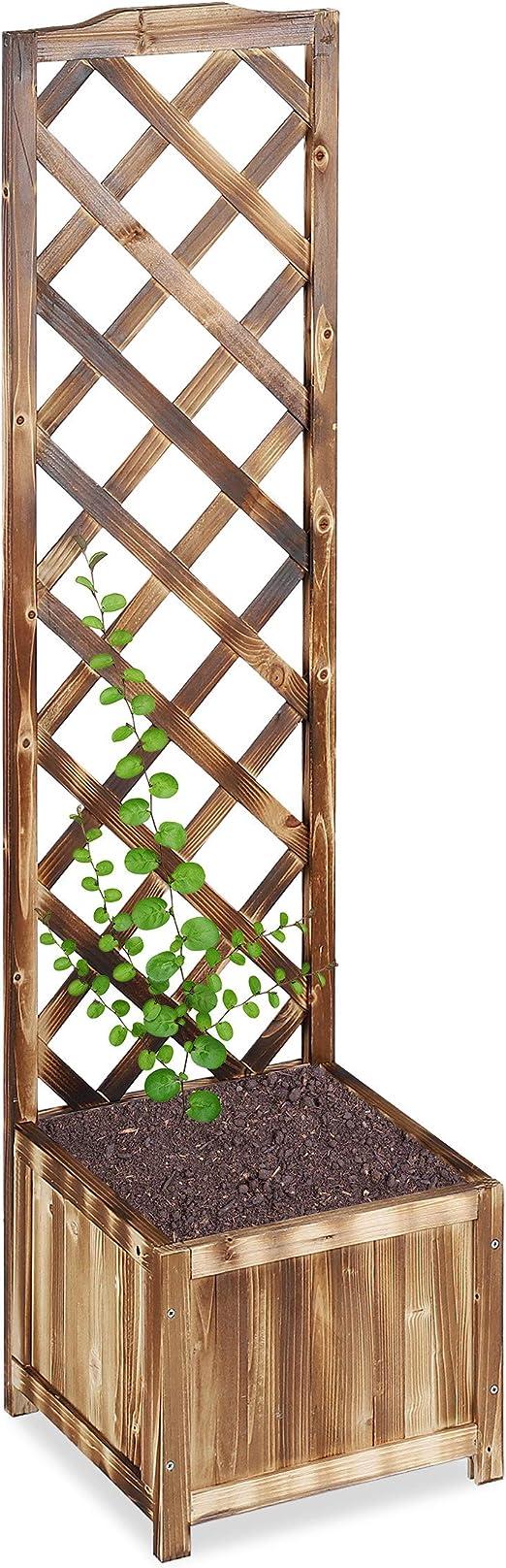 Relaxdays Enrejado de jardín, Madera, Macetero, Soporte para trepadoras, Veteado Natural, 25 L, 147 cm, L: Amazon.es: Jardín