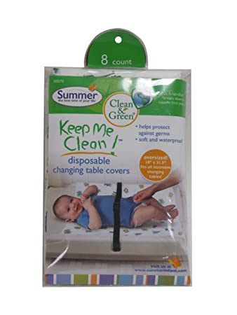 Charmant Summer Infant Keep Me Clean Disposable Changing Table Covers, Green/White  (Discontinued By