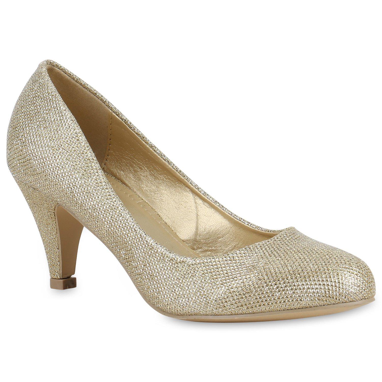 Stiefelparadies Damen Klassische Pumps Flandell Gold Glitzer 2018 Letztes Modell  Mode Schuhe Billig Online-Verkauf