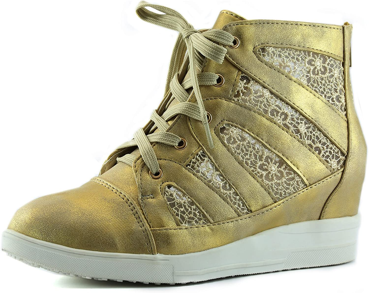 Nature Breeze Women's Printed Urban Street Chic Style Mesh Up Hidden Wedge Sneaker Shoes
