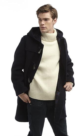 Mens Long Duffle Coat  Navy: Amazon.co.uk: Clothing