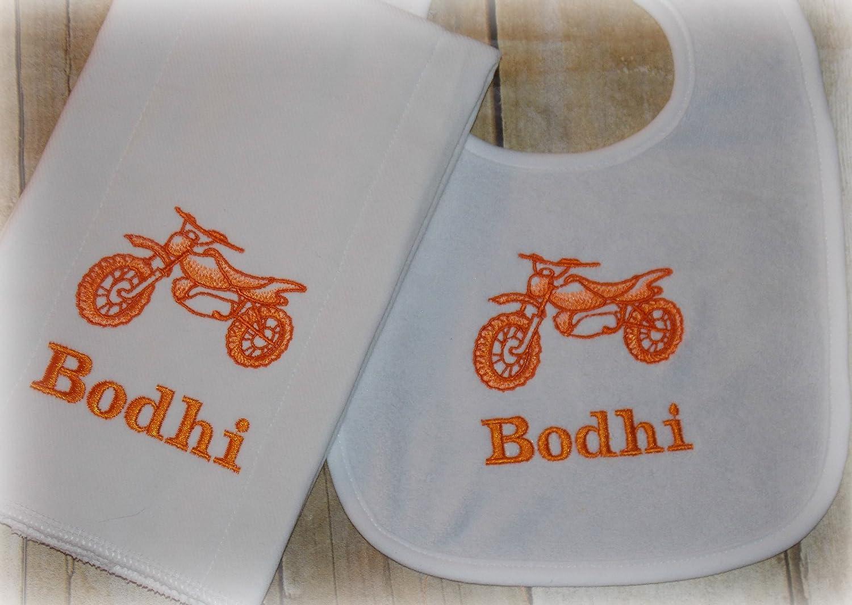 Dirt Bike baby personalized bib and burp set
