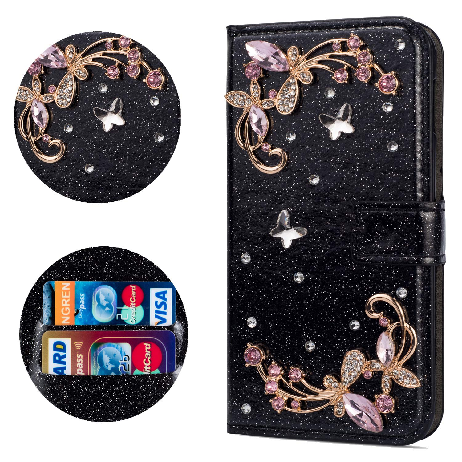 Stysen Flip Case for Huawei Mate 20 Pro,Leather Cover with 3D Handmade Crystal Diamonds Butterfly Glitter Floral Wallet Magnetic Clasp for Huawei Mate 20 Pro by Stysen