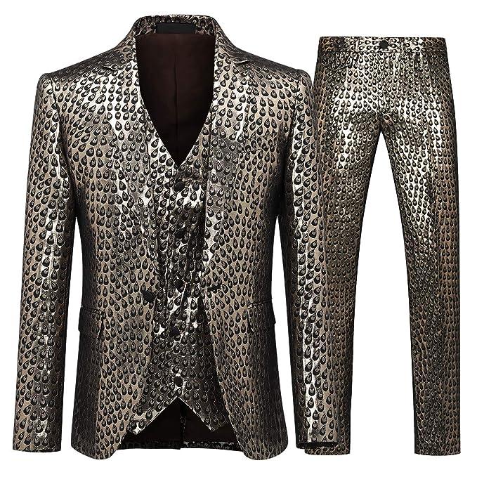 Amazon.com: Traje de 3 piezas para hombre, corte ajustado ...