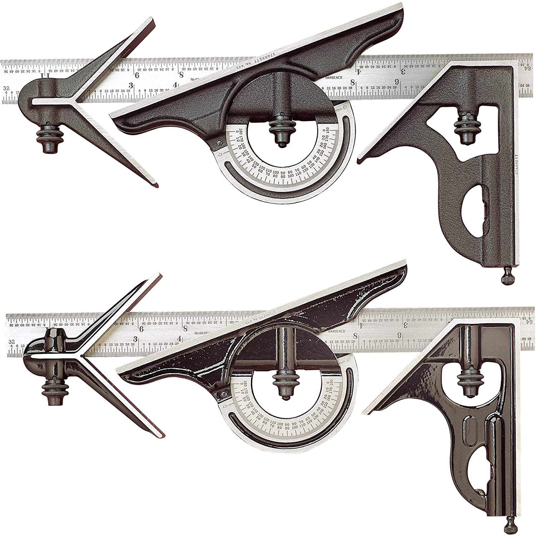 Image of Starrett 435-12-4R 12' 4R 4 Pc Reversible Combo Square Set w/Cast Head Carpentry Squares