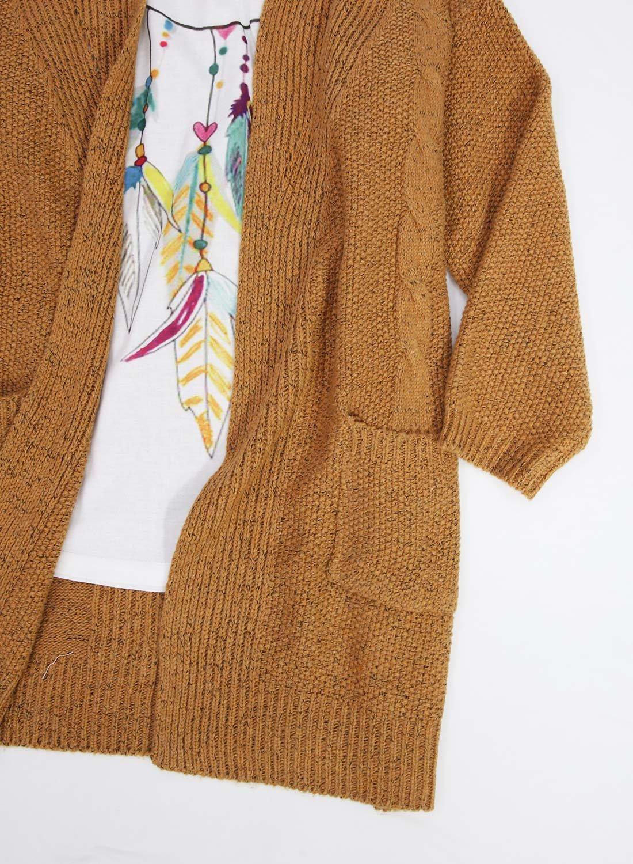 Futurino Women's Cable Twist School Wear Boyfriend Pocket Open Front Cardigan (One Size, Brown) by Futurino (Image #6)