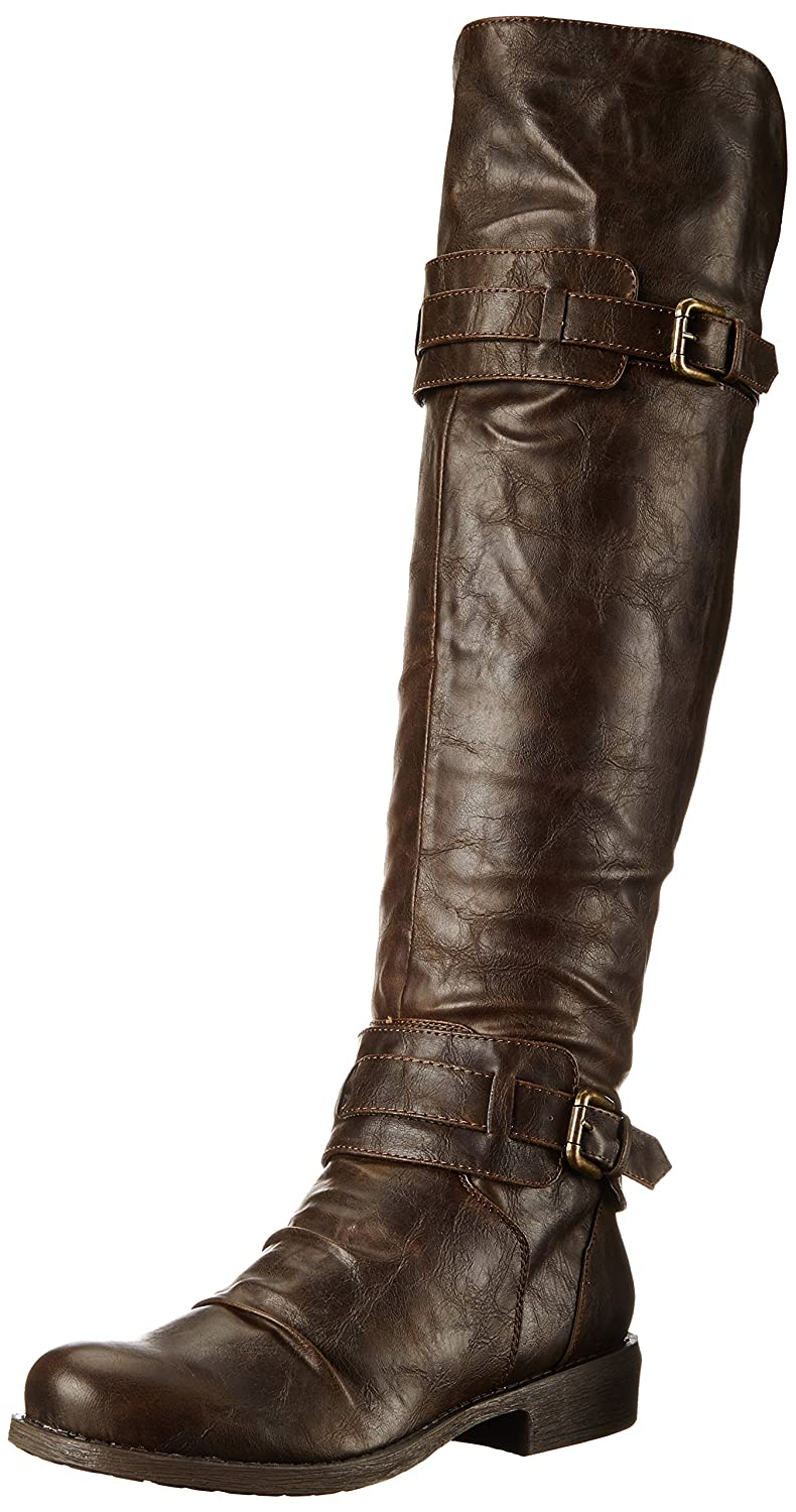 Women's Curl Up Dark Brown Faux Leather Boot