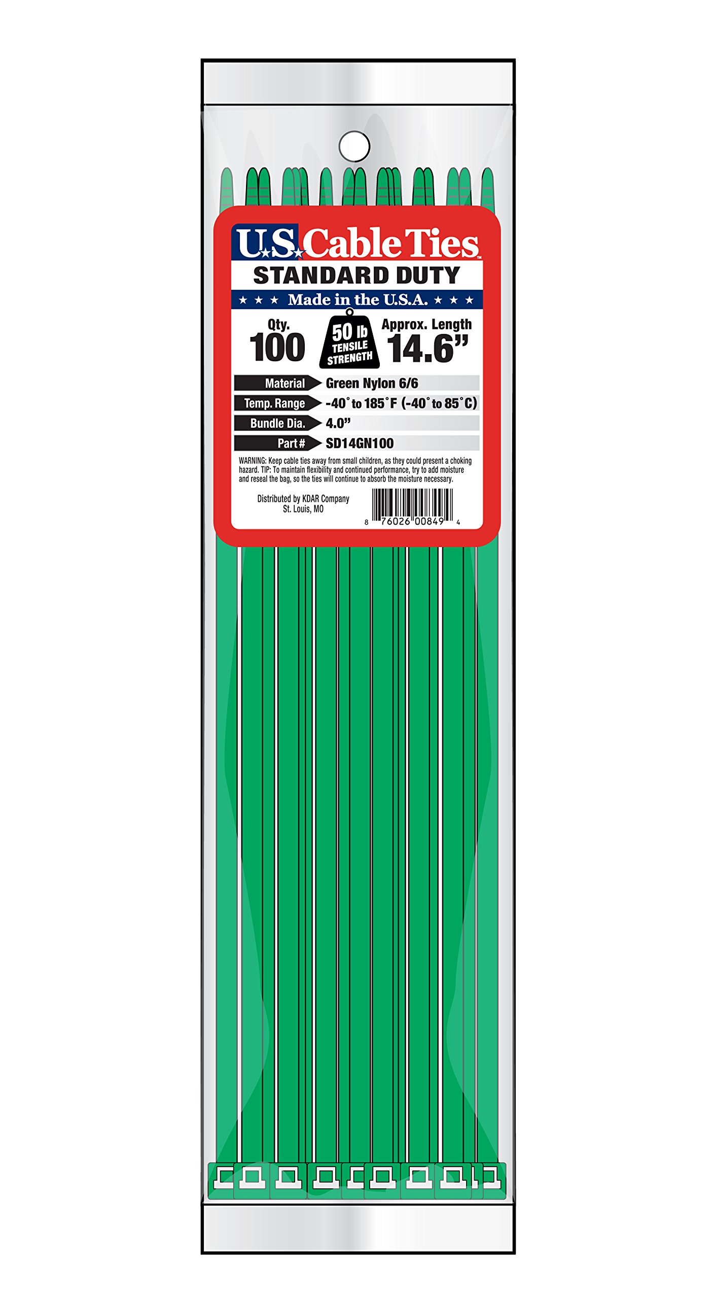 US Cable Ties SD14GN100 14-Inch Standard Duty Cable Ties, Green, 100-Pack by US Cable Ties
