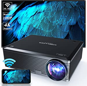 WISELAZER Native1080P Ultra HD 7500L Home Movie Projector , Support 4K ,5G Wireless Outdoor Portable Projector,Compatible with Chromecast/Tv Boxphone/Pc/Laptop/Ps4(Black)
