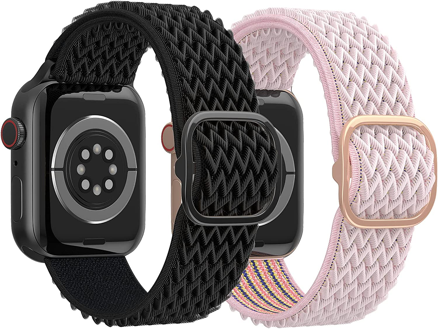 Mosstek Stretchy Solo Loop Compatible with Apple Watch 38mm 40mm Bands Women Men for iWatch Series 3 5 6 SE 4 2 1, 2 Pack Soft Nylon Strap Braided Elastic Adjustable Bracelet, All Black+PinkSand