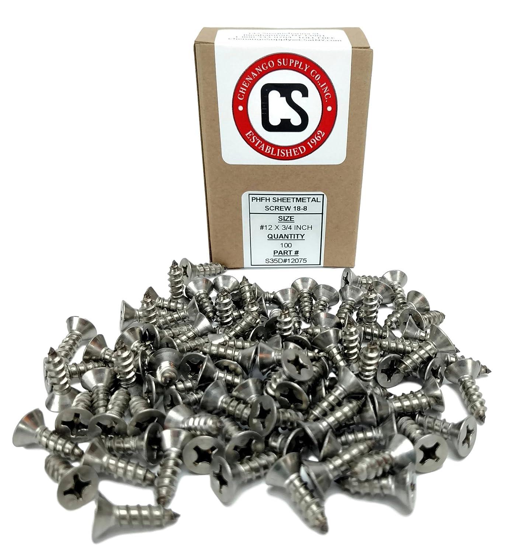 82 Degrees #12 X 3 Stainless Phillips Flat Head Sheetmetal Screw #12 x 3 82 Degrees Chenango Supply S35B#12PARENT 100 Sheet Metal Screws #12 x 3 1//2 to 3 in Listing