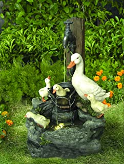 Duck Family at Tap Solar Powered Water Feature with Battery Back Up