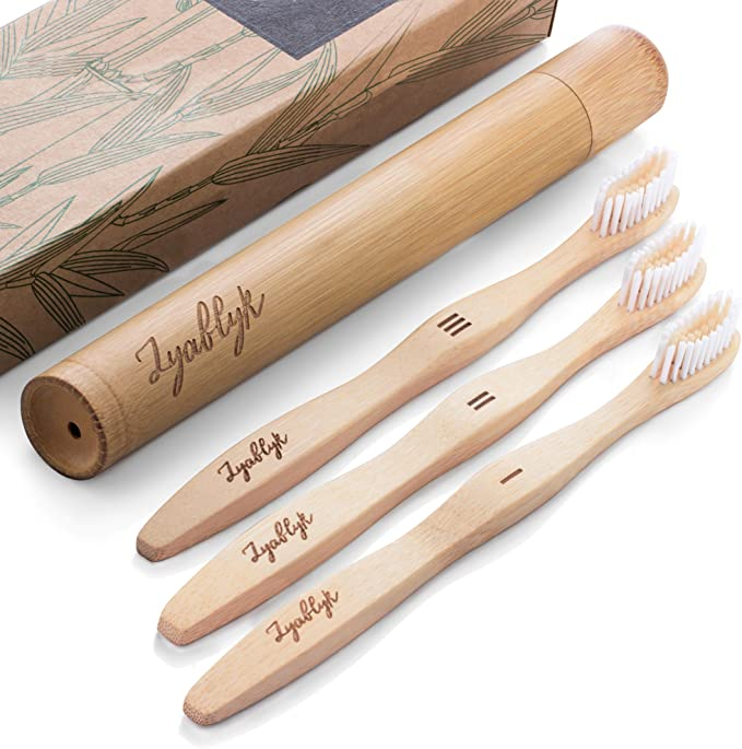 Bamboo Toothbrush Set With Travel Toothbrush Case Pack Of 3 Natural Bamboo Toothbrushes And Biodegradable Toothbrush Holder Soft Bristle Bpa Free Health Personal Care Amazon Com