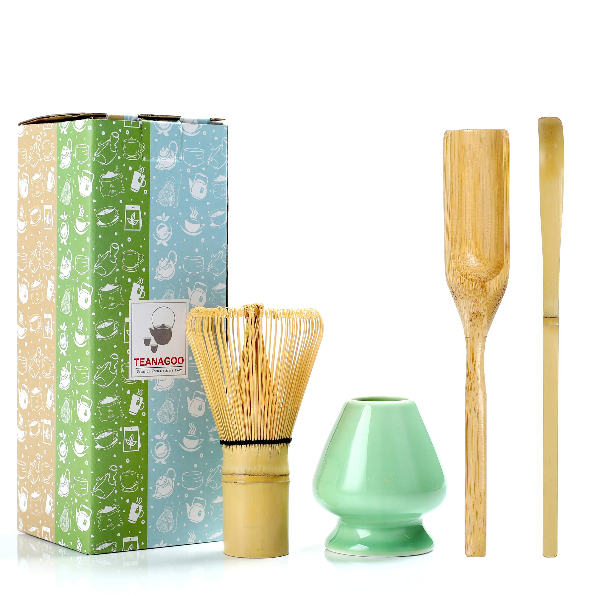 TEANAGOO MA-01 Japanese Matcha Ceremony Accessory, Matcha Whisk (Chasen), Traditional Scoop (Chashaku), Tea Spoon, Whisk Holder, The Perfect Set to Prepare a Traditional Cup of Matcha.