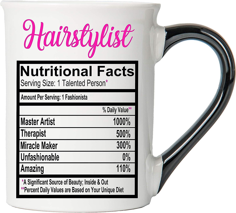 Cottage Creek Coffee Mug, Large Food Label Hairstylist Coffee Mug, 18oz Ceramic Hairdresser Coffee Cup, Hairstylist Mug [White]