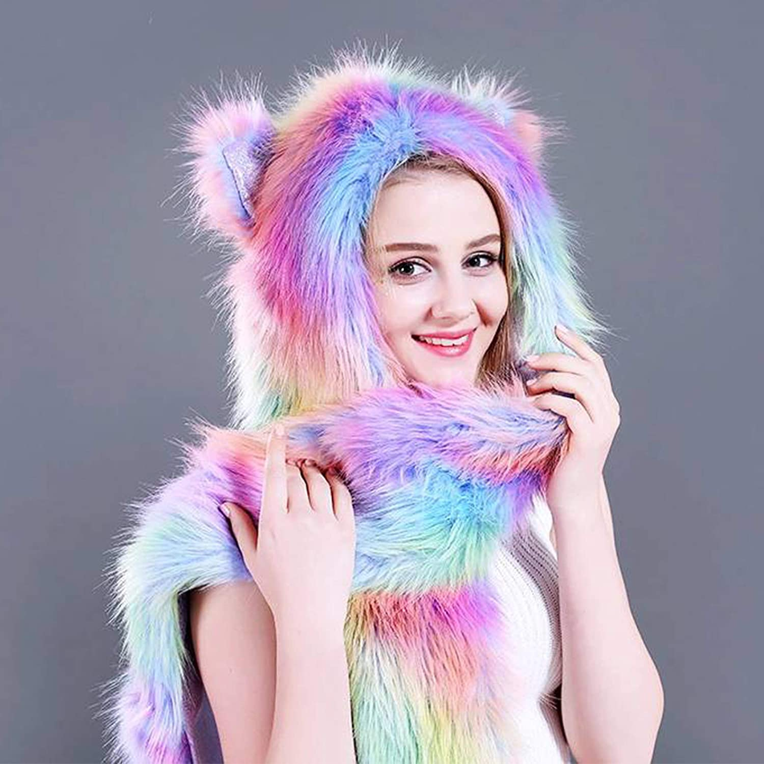 NucLighter Funny Rainbow Bear Animal Hood Hat Scarf and Paw Mittens Furry Hoodie Scarf with Ears