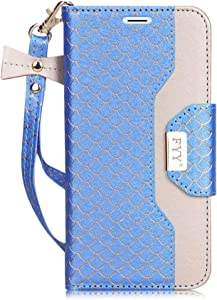 FYY Leather Case with Mirror for iPhone 8 Plus/iPhone 7 Plus, Leather Wallet Flip Folio Case with Mirror and Wrist Strap for iPhone 8 Plus/iPhone 7 Plus Deep SkyBlue