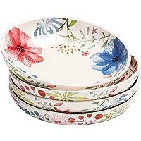 Bico Flower Carnival Ceramic 35oz Dinner Bowls, Set of 4, for Pasta, Salad, Cereal, Soup & Microwave & Dishwasher Safe