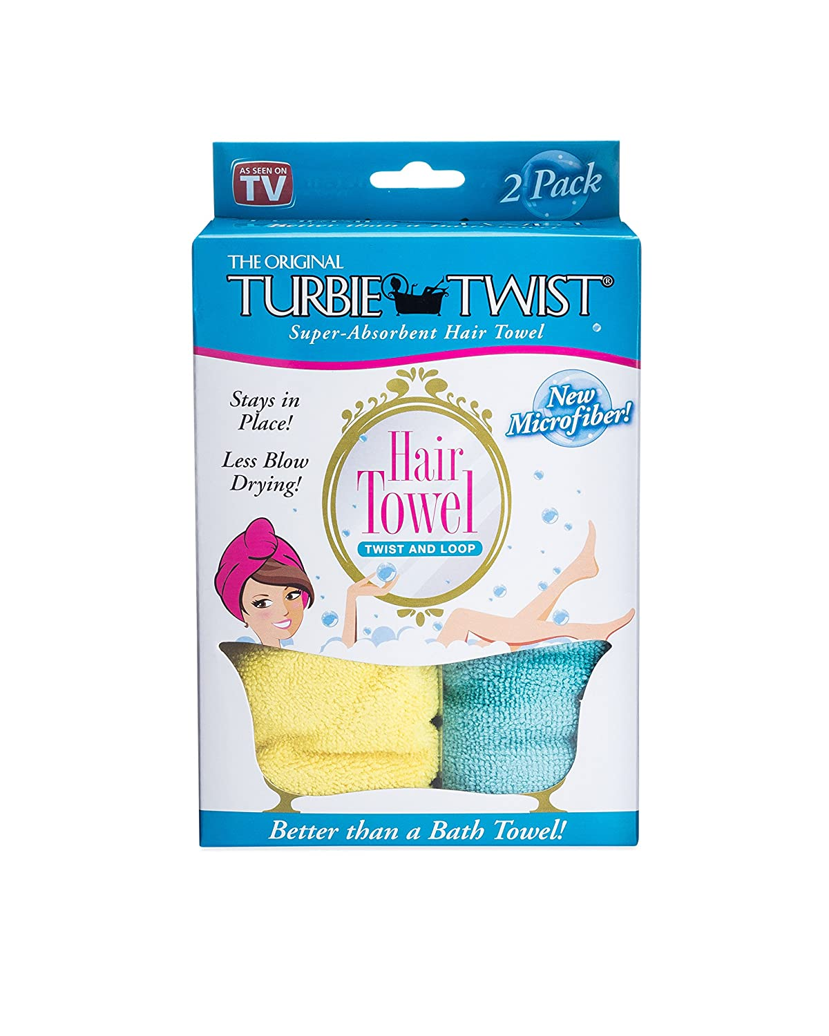 Turbie Twist Microfiber Hair Towel 2 Pack Yellow Aqua