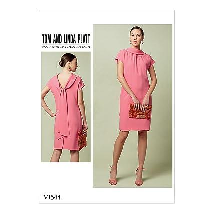 Amazon.com: Vogue Patterns V1544 Misses\' Lined Shift Dress Back Drop ...