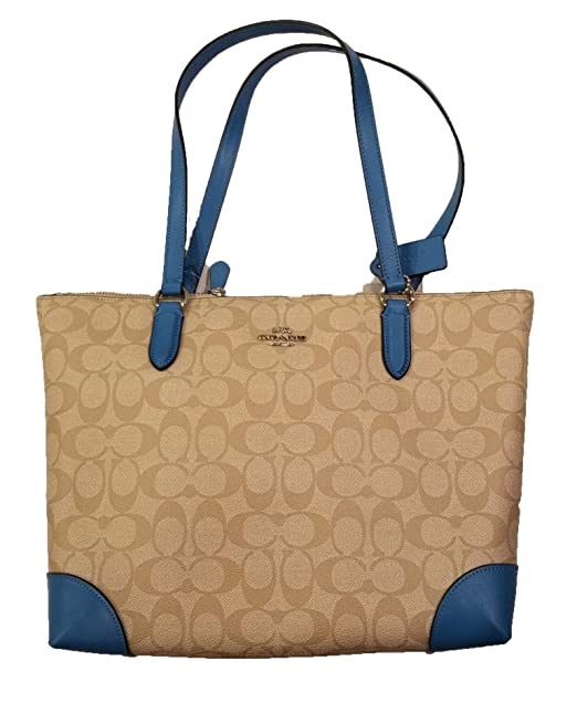 5de3237e Coach Zip Top Tote in Signature Coated Canvas with Smooth Leather Detailing  F29208