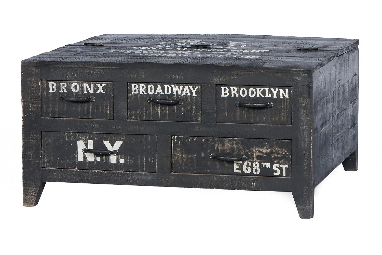 SIT-Möbel 4294-11 Couchtischtruhe Bronx, 90 x 90 x 45 cm, Mangoholz lackiert, antikschwarz