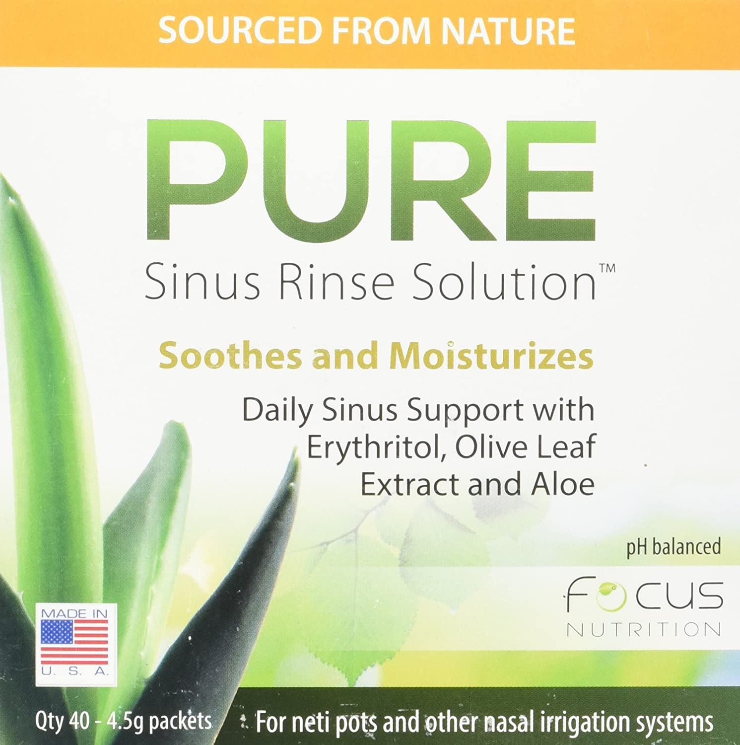 Focus Nutrition, Pure Products, Sinus Rinse Solution - 40 Pieces 4.5g Packets