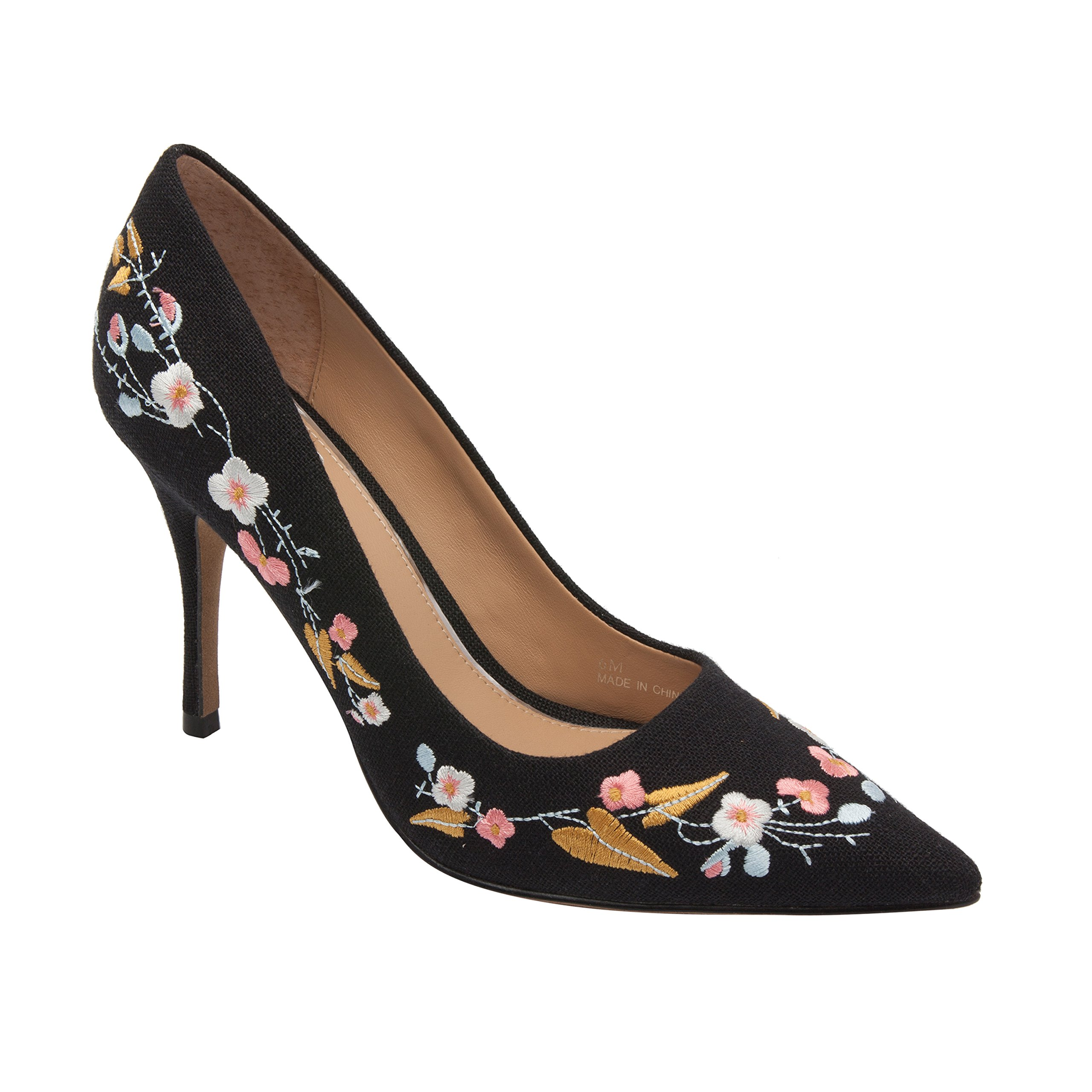 Linea Paolo Paisley | Women's Textile Pointy Toe Floral Embroidered Comfortable Pump (New Spring) Black Fabric 9.5M
