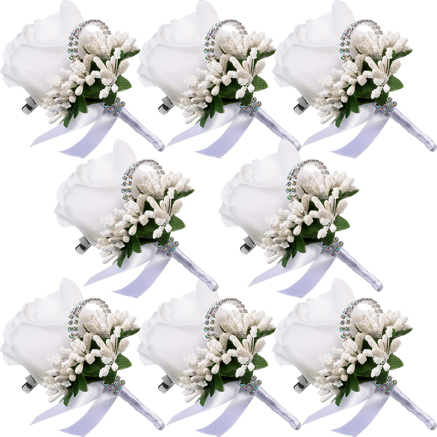 Men Wedding Boutonniere Wedding Flowers Buttonholes Accessories Groom Groomsman Prom Party Suit Decoration (8, White 7)