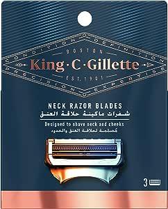 King C. Gillette Men's Neck Shaving Razor Blades, Pack of 3 Refills, with Skinguard and Gillette's Best and Sharpest Stainless Steel Platinum Coated Blades