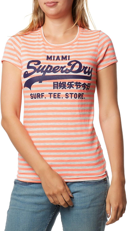 Superdry T Shirt Femme Vintage Logo Stripe Entry Corail