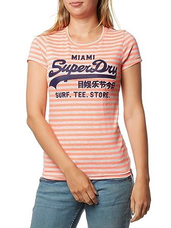 95538fc14f Superdry - Vintage Logo Stripe Entry Tee, Fluro Coral: Amazon.co.uk:  Clothing