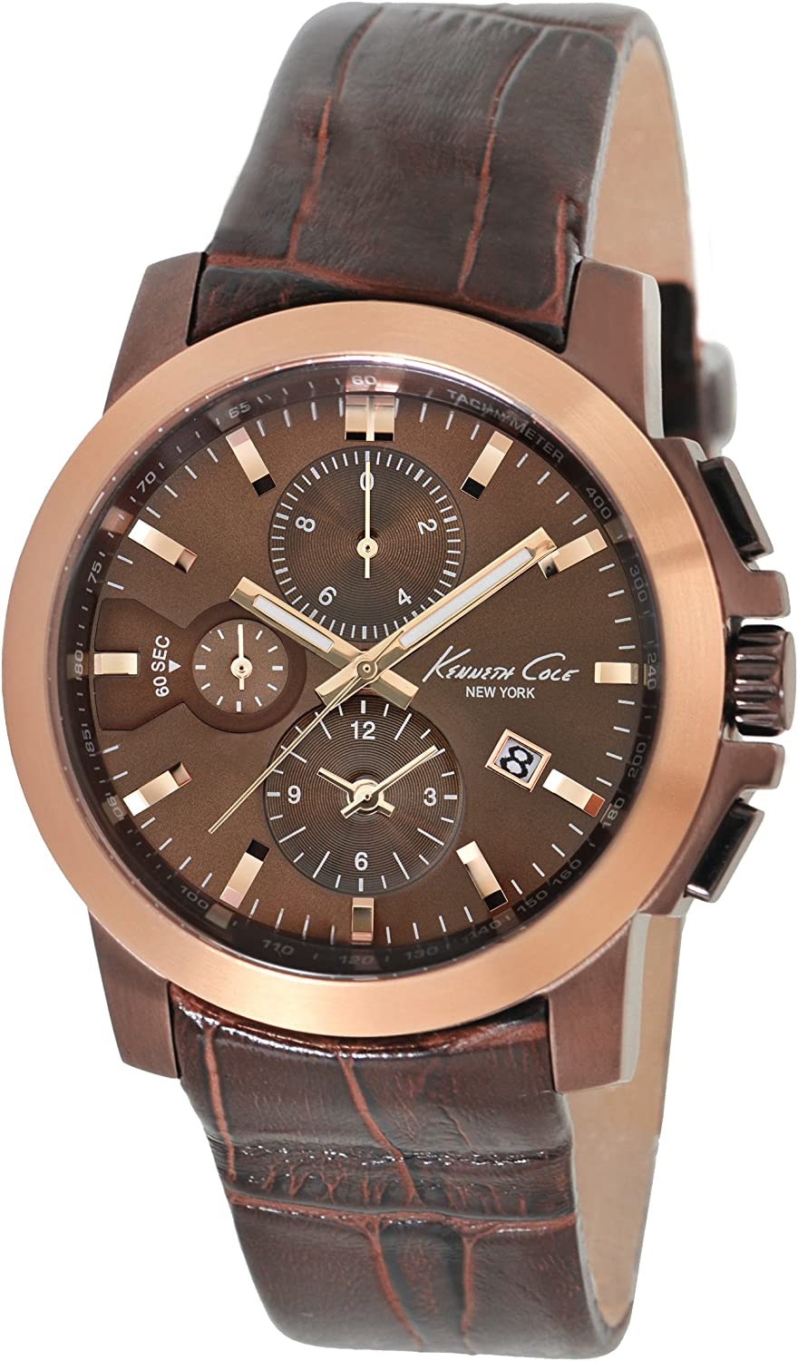 Kenneth Cole New York Men s Japanese Quartz Stainless Steel Case Leather Strap Brown, Model KC1884