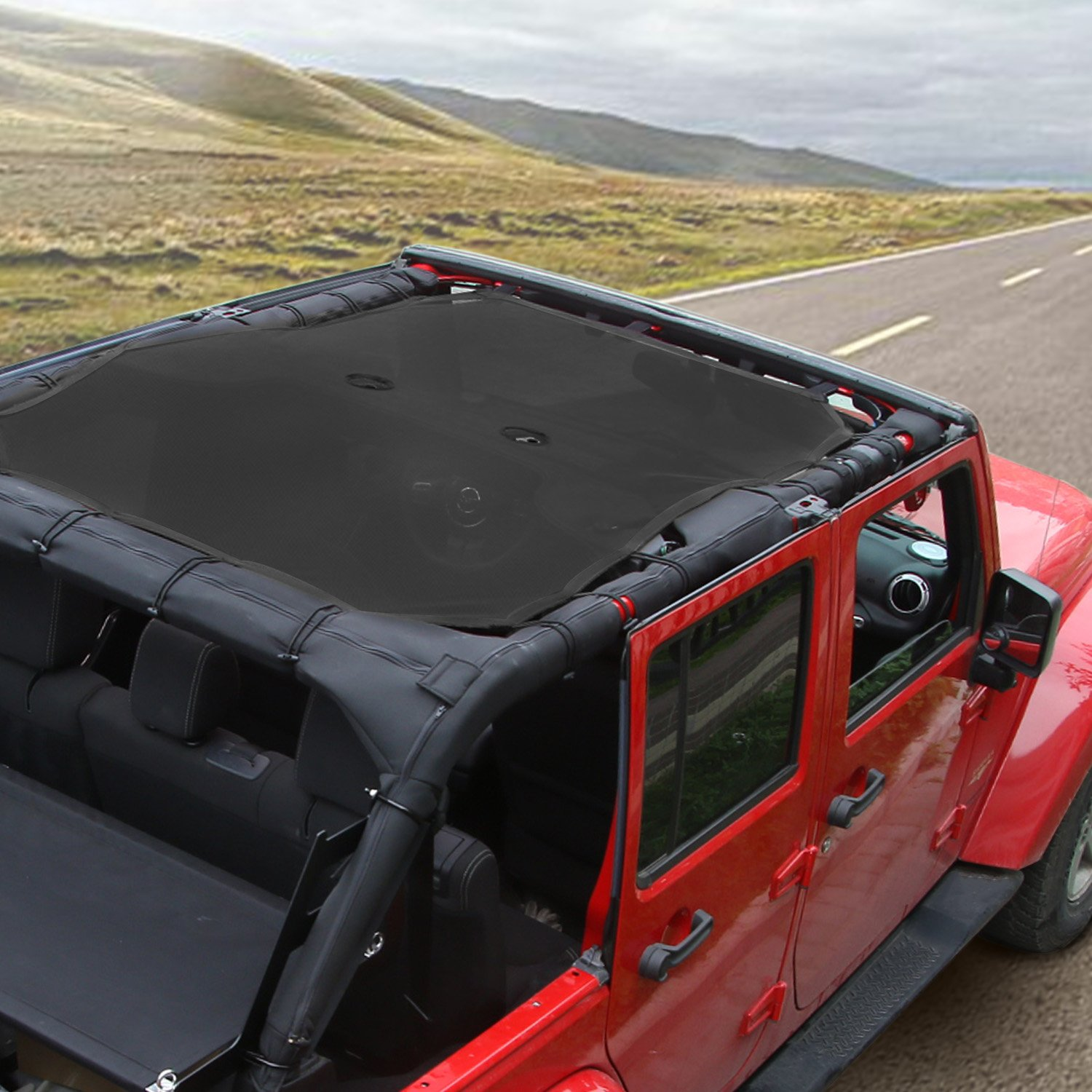 Voodonala Black Durable Mesh Sunshade Top Cover Provides UV Sun Protection for 2007-2017 Jeep Wrangler JKU 4 Door