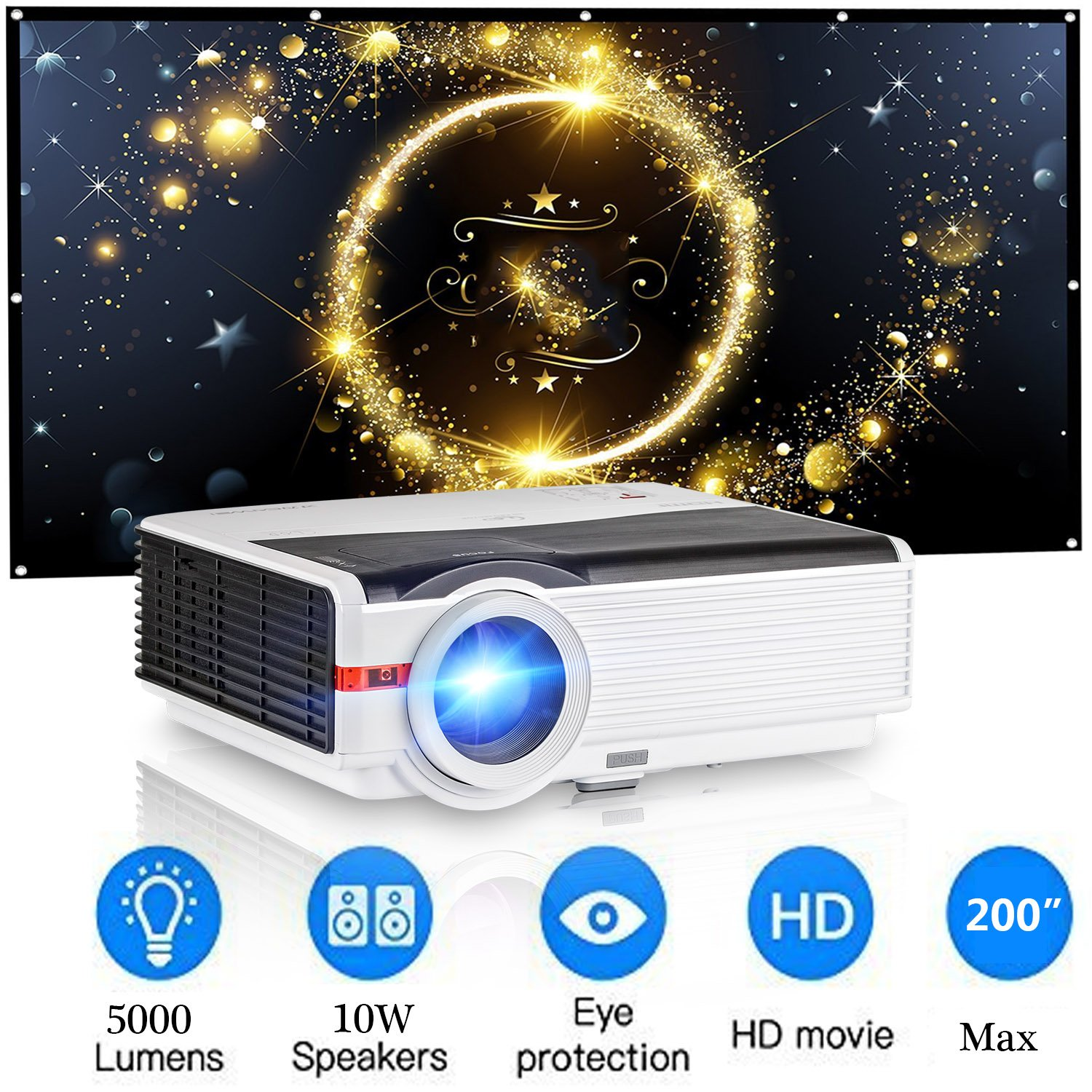 HD Projector 4200 Luminous Efficiency with 200'' Max Display 50,000-Hours Led Lamp Life, Mobile Portable Home Theater Projector Support 1080p HDMI, Movie Gaming TV Projector for Phone DVD Player USB