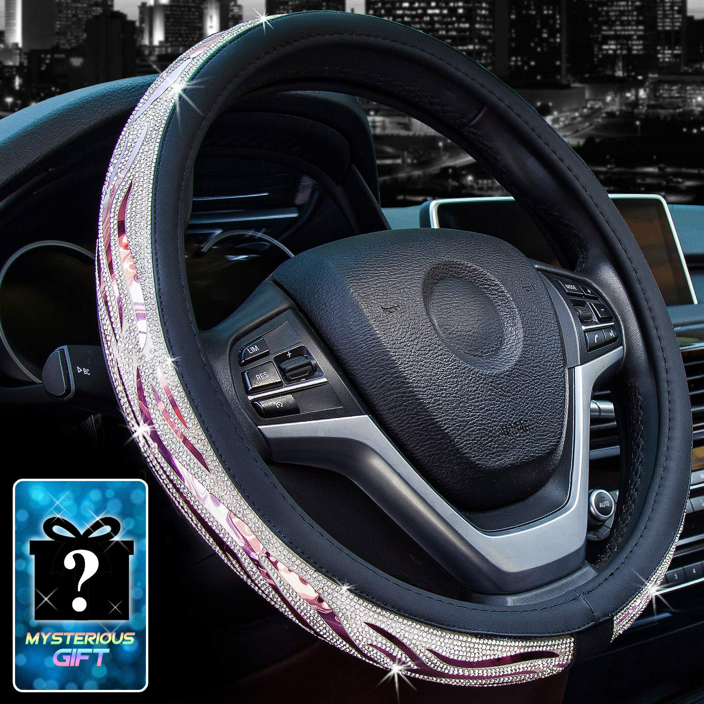 Didida Bling Steering Wheel Cover for Men Women Hot Wheels Applique Diamond Crystal Rhinestones Shiny Universal 15 Inch Light Purple