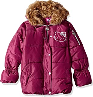 c55ad2b32 Hello Kitty Baby Girls All Over Printed Puffer Jacket with Fur Trim Hood