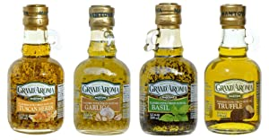 Mantova Flavored Extra Virgin Olive Oil Variety Pack: Tuscan Herbs, Truffle, Garlic, Basil Authentic Italian EVOO, 8.5-Ounce Per Bottle (Pack of 4) Great Gift Item