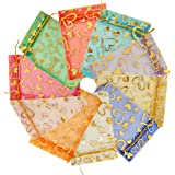 Hraindrop 100 Pieces Organza Jewelry Favor Drawstring Pouches Wedding Party Festival Gift Candy Bags