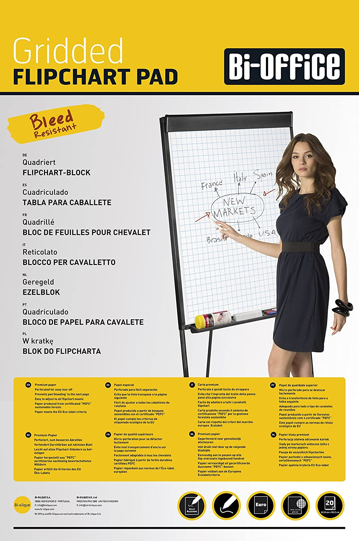 Bi-Office Blocco Per Lavagna di Carta Euro, A Quadretti, 50 Fogli per Blocco, Lato Superiore Perforato, 55 g/mq, Conf. da 5 Bi-Silque FL032502