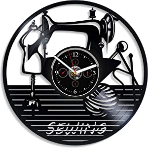 Kovides Sewing Art Decor Sewing Wall Clock Vintage Vinyl Record Retro Wall Clock Large Sewing Profession Wall Clock 12 Inch Birthday Gift Sewing Gift for Girl New Year Gift Home Wall Decor